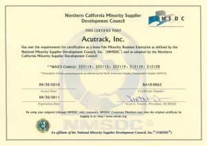 Acutrack Minority Owned Business Certification